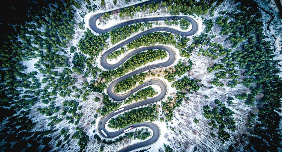 Mavic Pro - Cheia-road in the winter-Calin-Stan