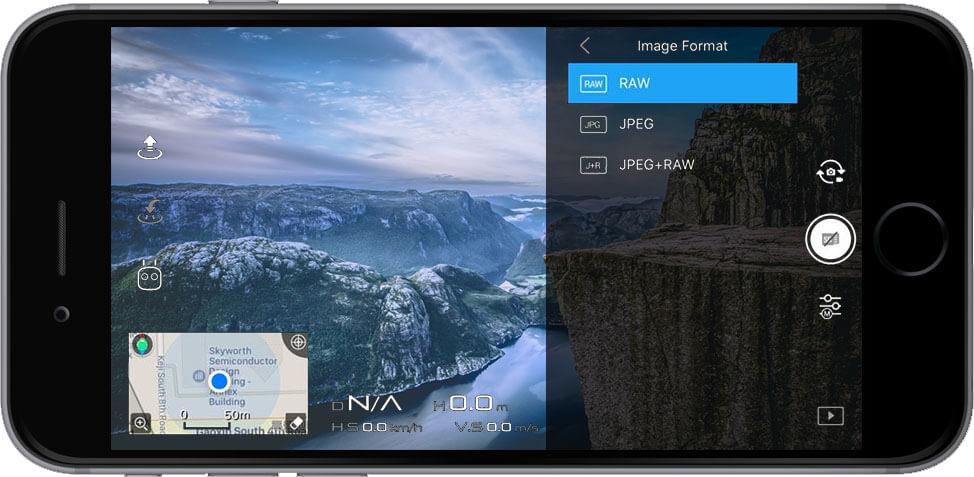 DJI Go 4 Manual Camera Settings Image Format